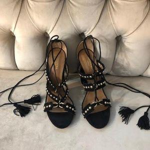 Aquazzura Black/Gold Suede Sandal, Size 38